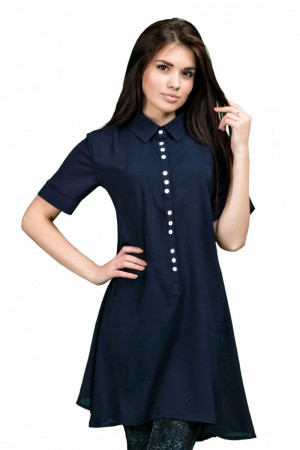 Платье-рубашка - Тем. синий